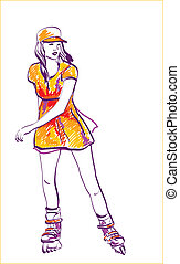 Sketch of rollerskating teenage girl. Hand drawn illustration.