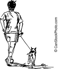 Sketch of Runner with Dog