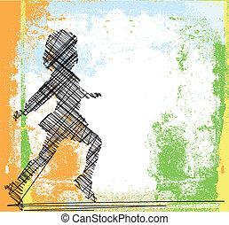 Sketch of running girl. Vector illustration