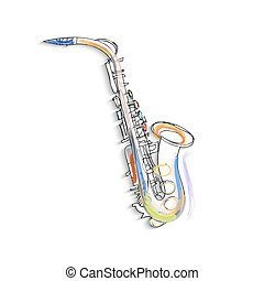 Sketch of saxophone on white background