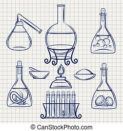 Sketch of science lab equipment