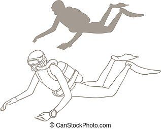 Sketch of scuba diver.
