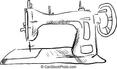 Sketch of sewing machine, illustration, vector on white background.