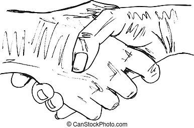 Sketch of shaking hands. Vector illustration