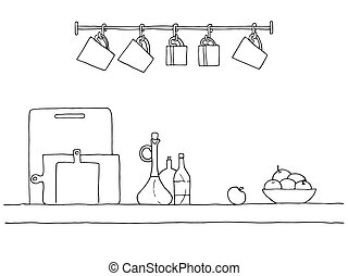 Sketch of shelves with different utensils. Vector...