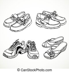 Sketch of shoes for men and women moccasins, sneakers, women's slingbacks