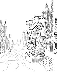 A vector image of a landmark of Singapore: Merlion. This vector is very good for design that needs Singapore's landmark or travel element.
