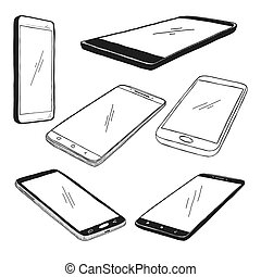 Sketch of smartphones. The set of phones is isolated on a white background. Vector