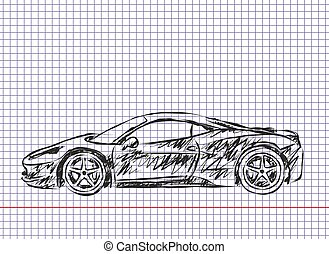 Sketch of sports car.
