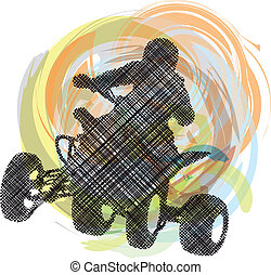 Sketch of Sportsman riding quadbike - Sketch of Sportsman...