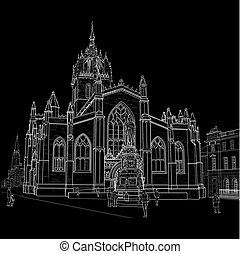 Sketch of St. Giles Cathedral - Drawing sv.Gillis Church in...