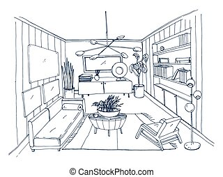 Sketch of stylish living room full of furnishings hand drawn with contour lines. Monochrome drawing of apartment furnished in Scandinavian style. Modern home interior design. Vector illustration.