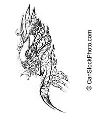 Sketch of tattoo art, alien