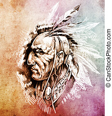 Sketch of tattoo art, American Indian Chief illustration...