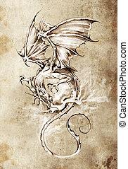 Sketch of tattoo art, classic dragon illustration