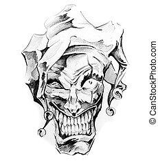 Sketch of tattoo art, clown joker