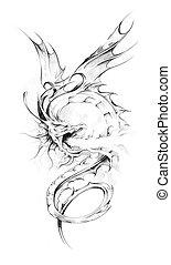 Sketch of tattoo art, dragon