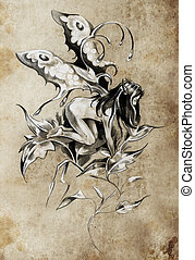 Sketch of tattoo art, fairy, fantasy illustration, textured background