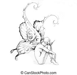 Sketch of tattoo art, fairy