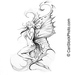 Sketch of tattoo art, fairy