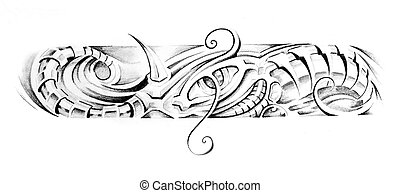 Sketch of tattoo art, fantasy bracelet