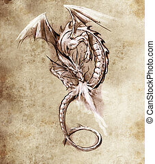 Fantasy dragon. Sketch of tattoo art, medieval monster -...
