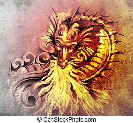 Sketch of tattoo art, fantasy medieval dragon with white fire