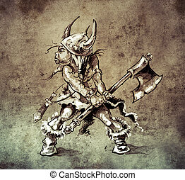 Sketch of tattoo art, funny little warrior with big axe  on vint
