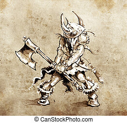 Sketch of tattoo art, funny little warrior with big axe