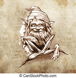 Sketch of tattoo art, funny sitting gnome