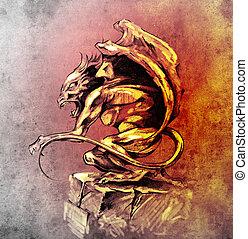 Sketch of tattoo art, gargoyle demon, design elements over...