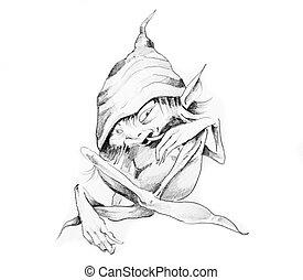 Sketch of tattoo art, gnome