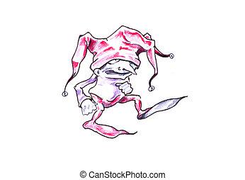 Sketch of tattoo art, jester, joker