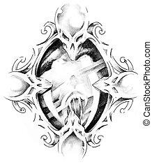 Sketch of tattoo art, mirror