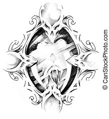 Sketch of tattoo art, mirror