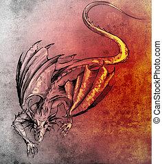 Sketch of tattoo art, modern dragon