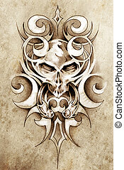 Sketch of tattoo art, monster design with tribal...