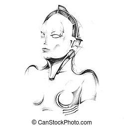 Sketch of tattoo art, robot