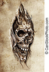 Sketch of tattoo art, skull head illustration, vintage style