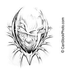 Sketch of tattoo art, skull