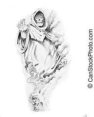 Sketch of tattoo art, sorcerer