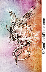 Sketch of tattoo art, stylish dragon illustration over colorful paper