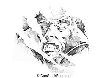 Sketch of tattoo art, vampire