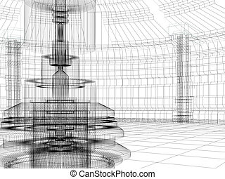 sketch of technology building - Wire-frame sketch of...