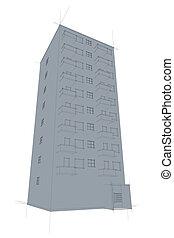 sketch of tenement from below