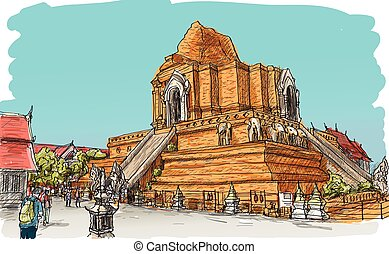 Sketch of Thai temple