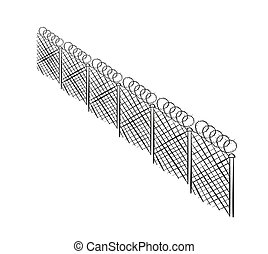 sketch of the barbed fence on white background, isolated