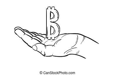 bitcoin symbol and hand