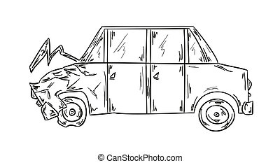 car accident - sketch of the car accident on white ...