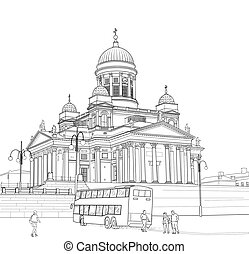 Sketch of the Cathedral in Helsinki
